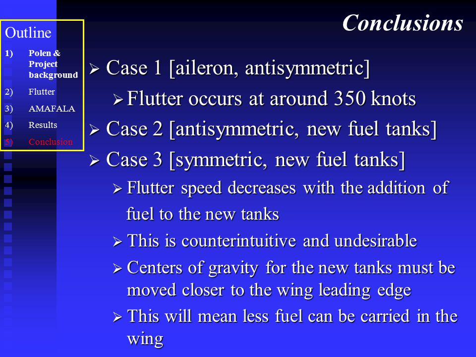 Conclusions Case 1 [aileron, antisymmetric]